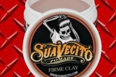 The Suavecito Firme Clay Pomade is the latest product to join our line. This matte pomade will give you monster grip and texture without drying stiff or shiny. It's great for more natural looks or to add grit and hold to thin hair. Use a small amount to add definition to curls and longer hair, or build up a strong grip on fine hair that needs extra help holding styles. May be used on damp or dry hair, but for a true matte finish, start with dry hair. Directions: Works best on dry hair. Scoop a small amount of product into hands and emulsify between palms. Starting at the ends of your hair, distribute the pomade, moving toward the roots. Use your fingers to sculpt into desired style, or use a comb for a more polished look. •	Natural, matte finish - no shine •	Strong hold that lasts all day •	Washes out with just water